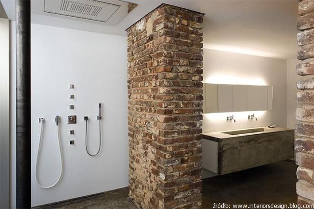 Cegła I Beton W Industrialnej łazience łazienki Projekty