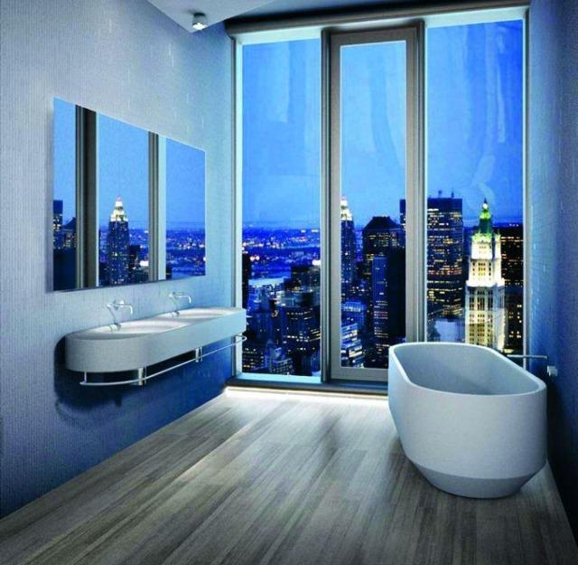 Wyposażenie łazienki na indywidualne zamówienie wapartamentowcu wNowym Yorku