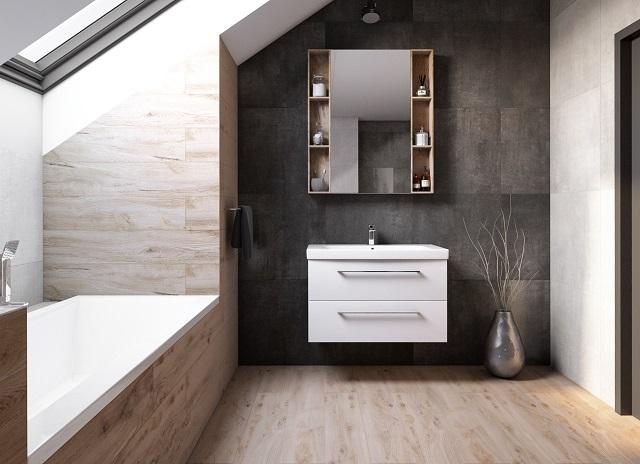 szafka zlustrem wbeżowo szarej łazience