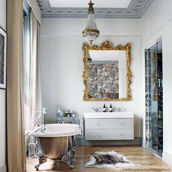 Beautiful Bathroom with Metalic Details