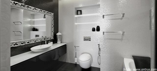 łazienki Czarno Białe W Stylu Glamour I Retro łazienki